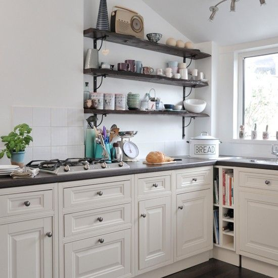 Attractive Kitchen Shelves Instead Of Cabinets | ... Traditional Kitchen/ Love The  Black Shelving