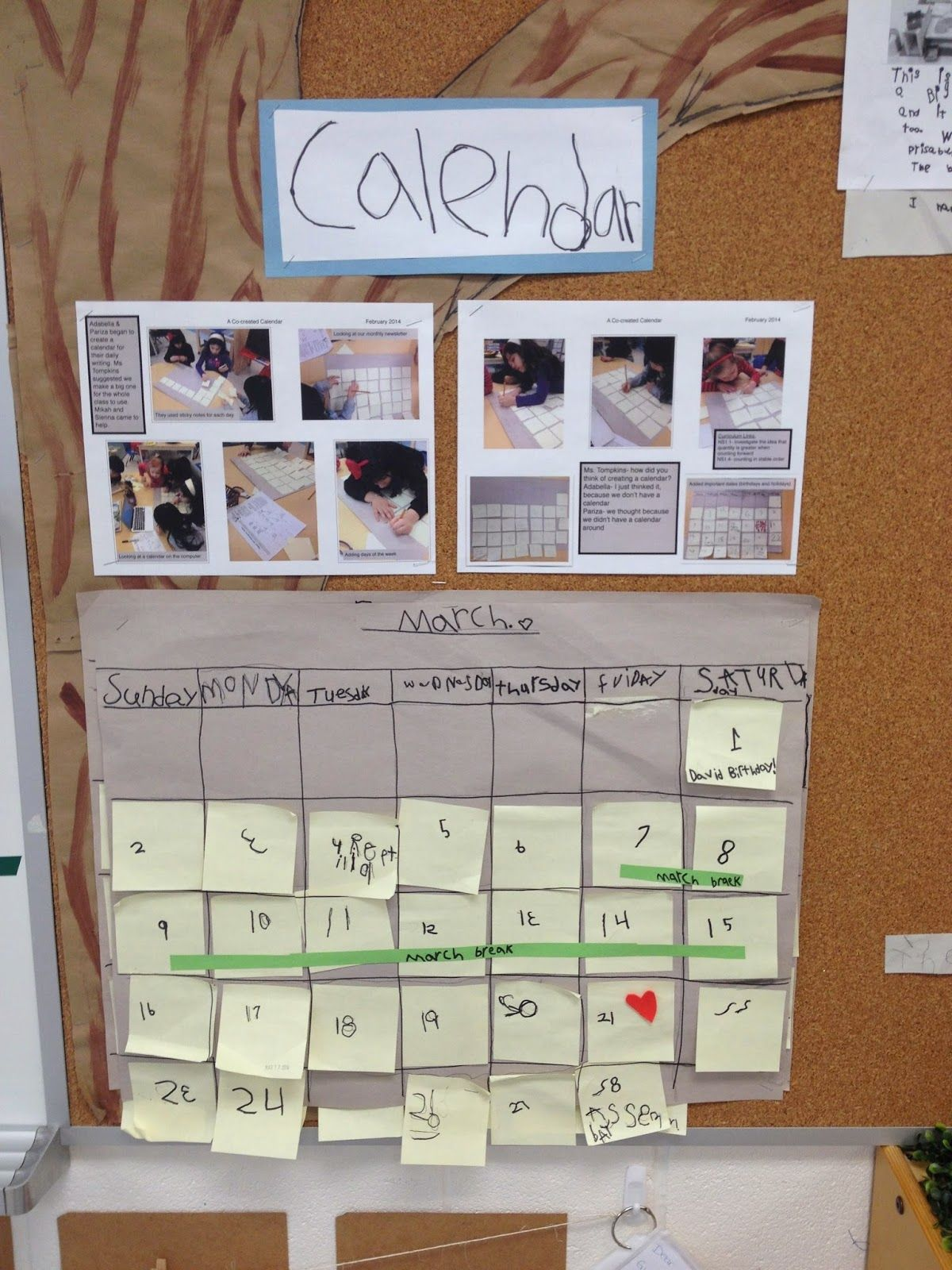 Calendar Name Ideas : Student created calendar preschool focus board