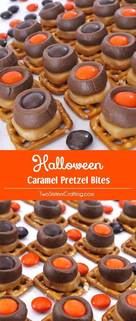 Halloween Caramel Pretzel Bites Halloween desserts, Halloween - halloween dessert ideas