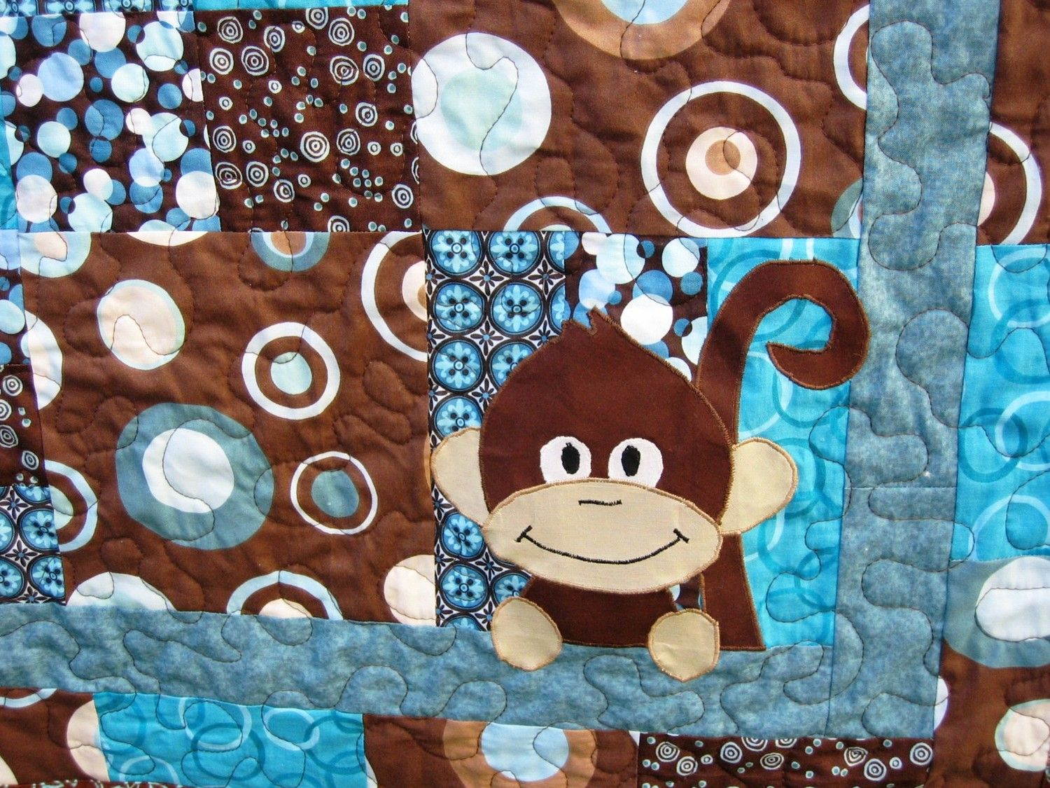 Teal and Brown Baby Quilt with Appliqued Monkey in the Corner ... : monkey baby quilt pattern - Adamdwight.com
