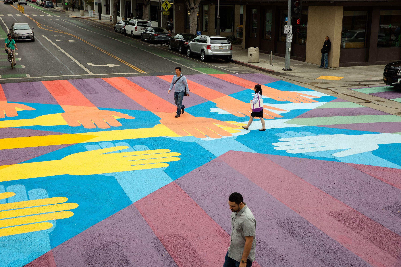 Get a look at santa monicas bold new crosswalks santa