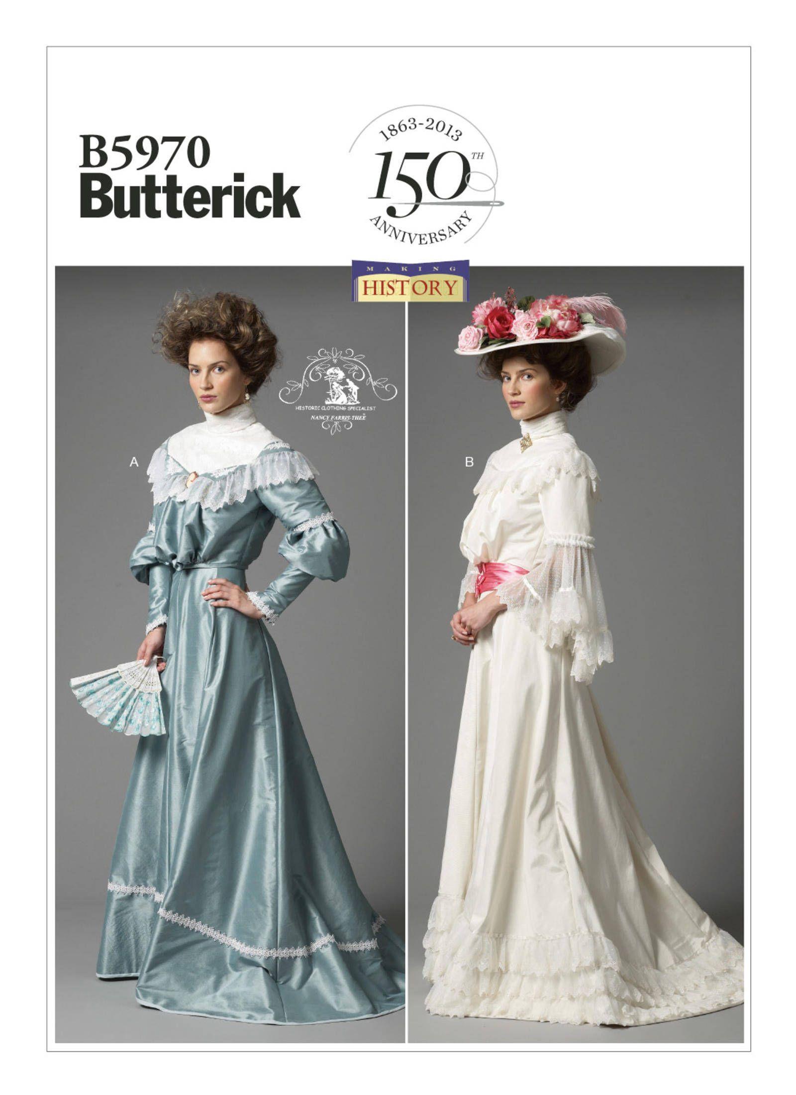 06d42e445e0 Butterick sewing pattern 5970 Making History Edwardian Era Victorian ...