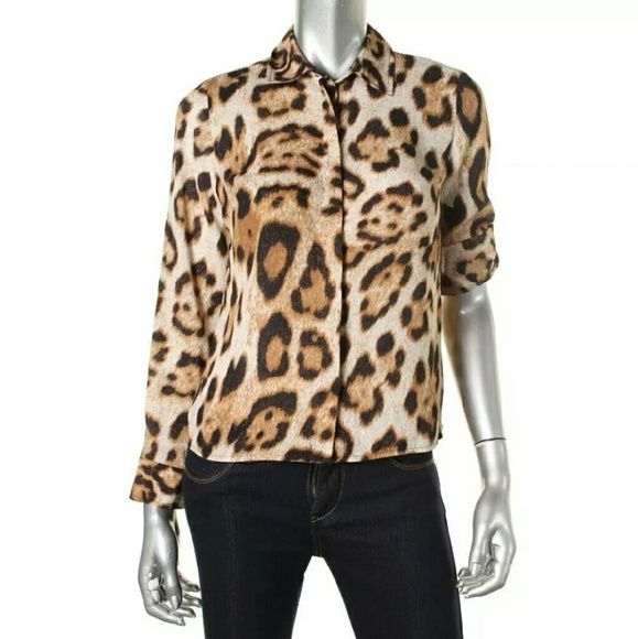 NEW ANIMAL PRINT Shirt Super chic long sleeve animal print button down top.  See above photo for full description. INC International Concepts Tops Button Down Shirts