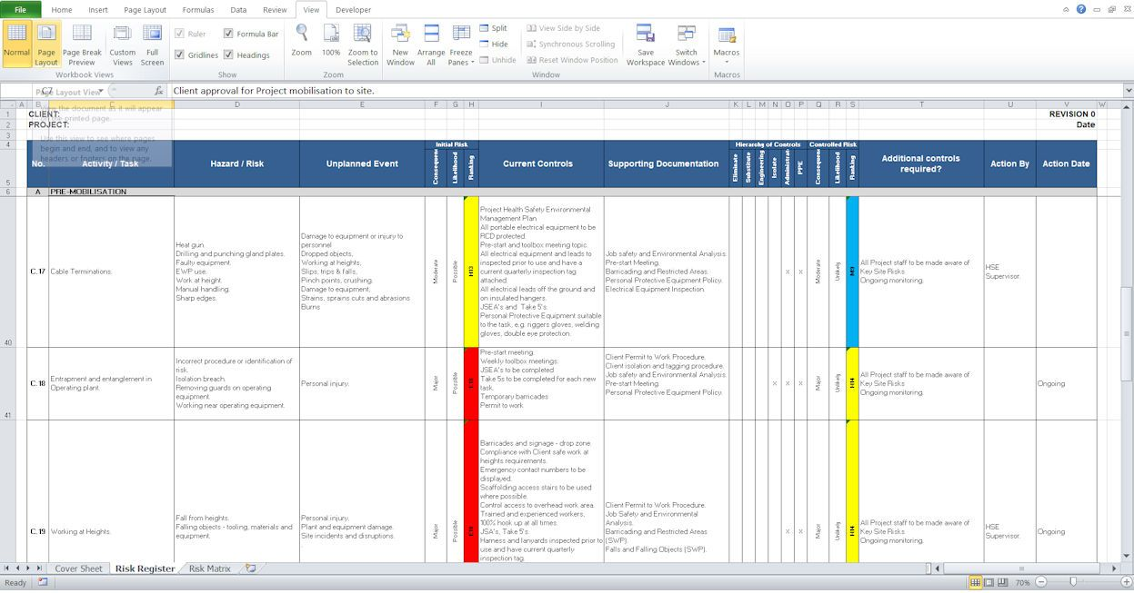 Health And Safety Construction Risk Register Template Health And