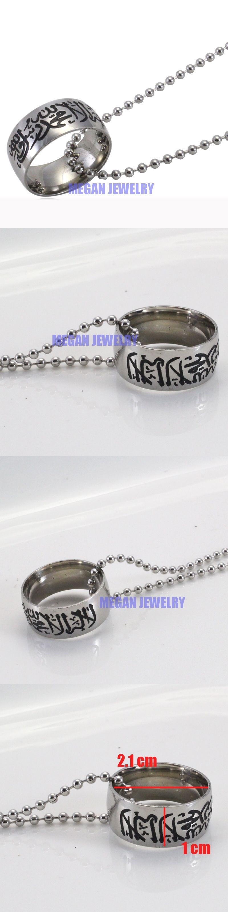 Muslim allah shahada stainless steel necklace for women men cm