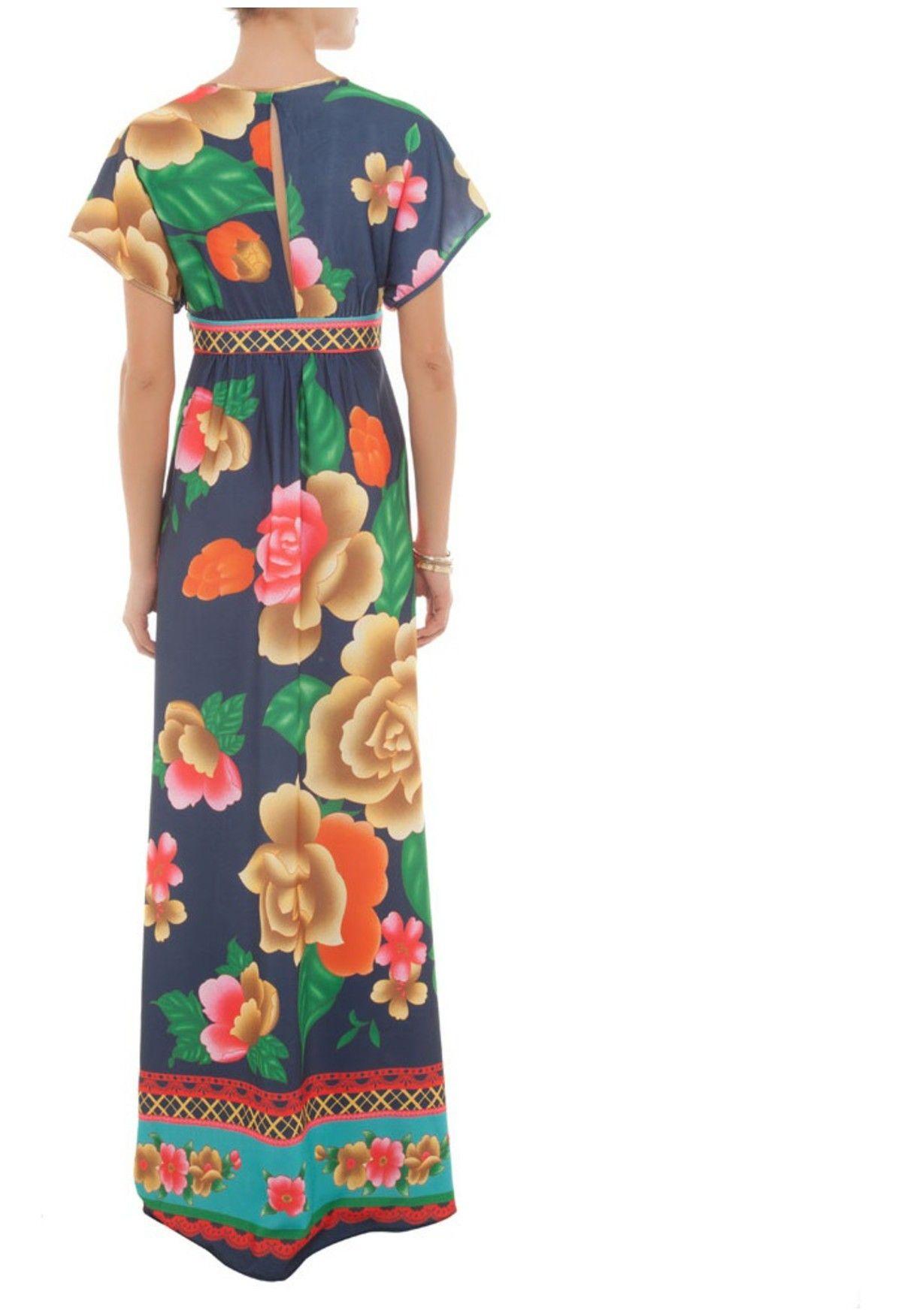 cdb3390e1 FARM - Vestido longo floral - azul e verde - OQVestir