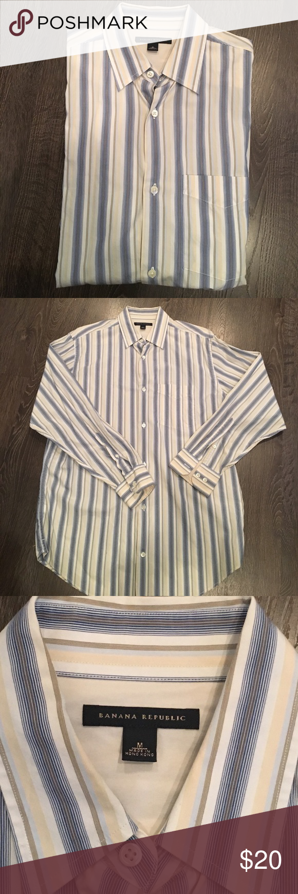 Banana Republic button down shirt Banana Republic button down shirt, EUC. Cotton fabric and blue, brown and beige stripes make it perfect for spring and summer! Machine wash warm. 🌸automatically save when you bundle or make an offer🌸 Banana Republic Shirts Dress Shirts