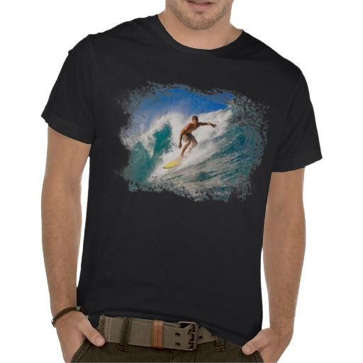 SURFER RIDING A BREAKING WAVE. TEE SHIRTS