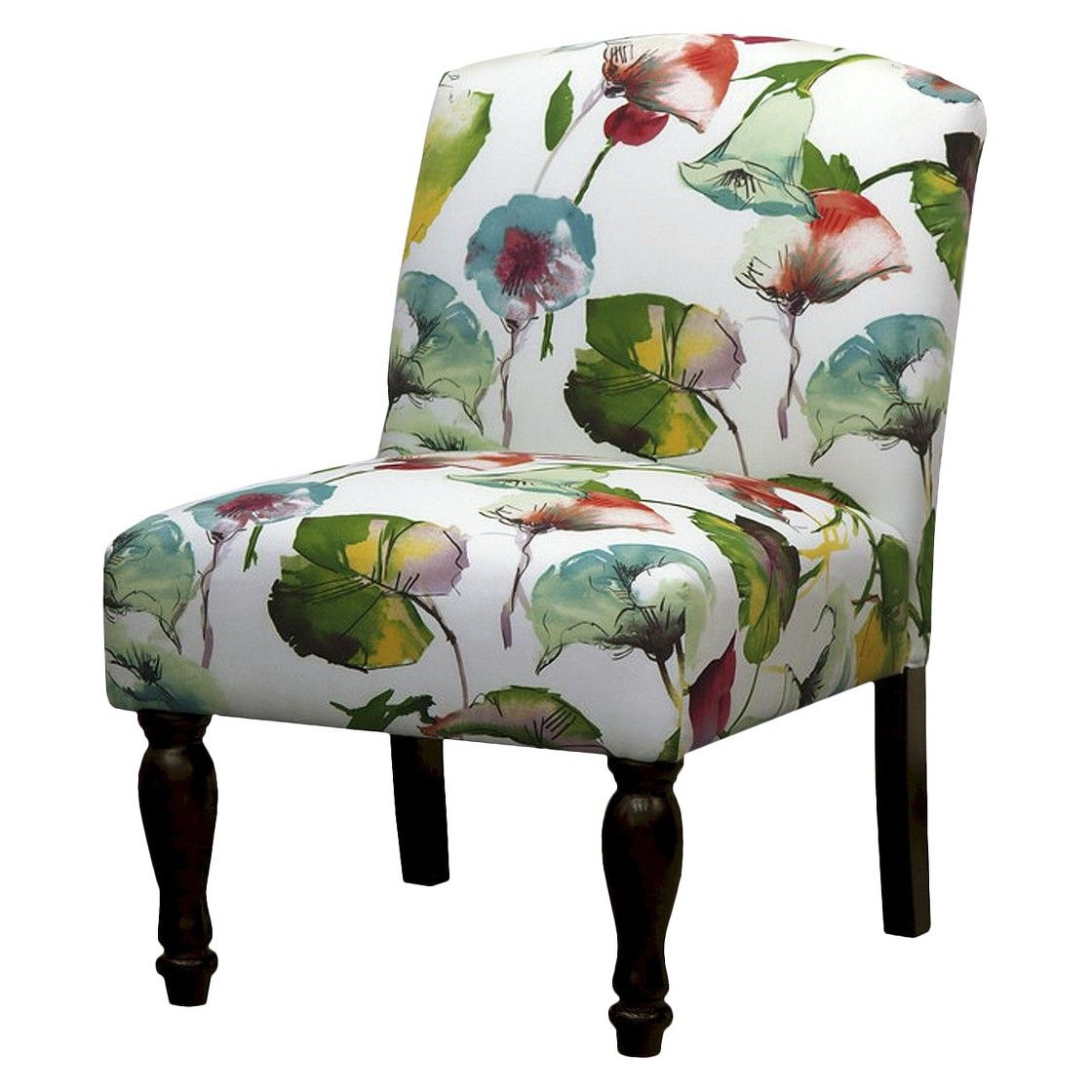 foster armless slipper chair  multicolored floral