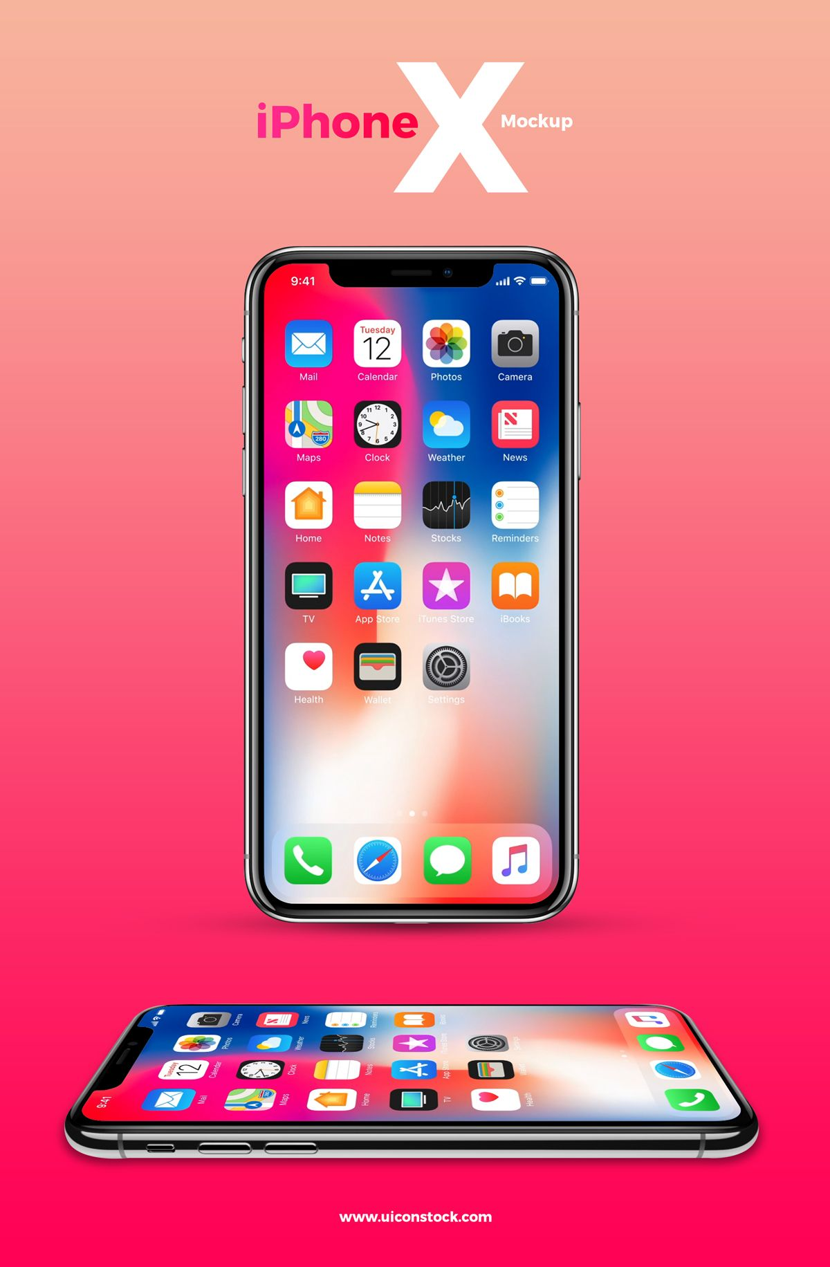 Free iPhone X Mockup With 2 Angles Free iphone, Iphone