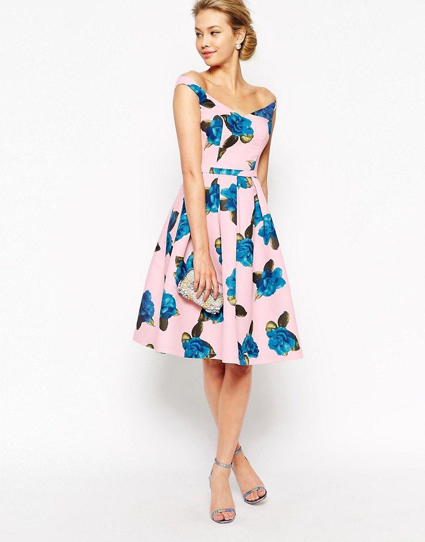Chi chi london off shoulder floral dress wedding guest for Shop wedding guest dresses
