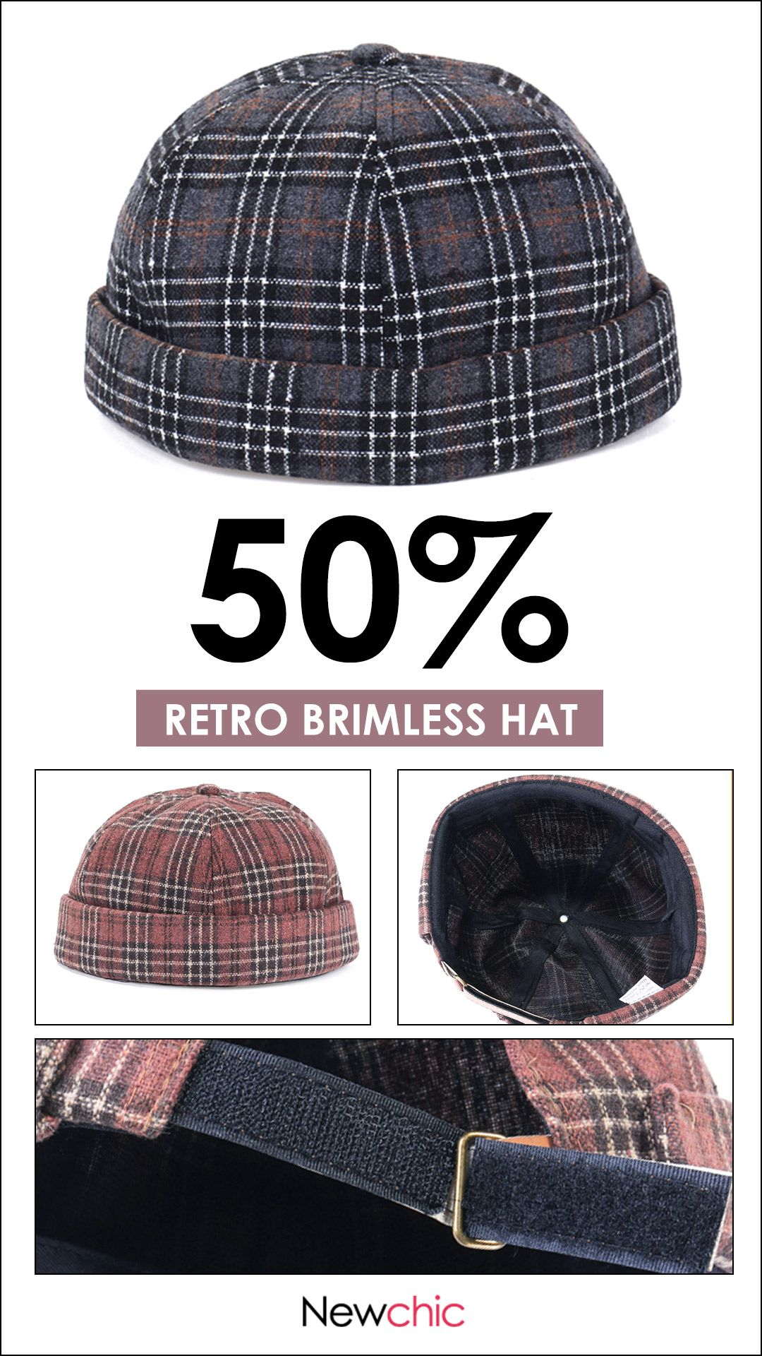 41a212204dc3f Dome Grid Skullcap Sailor Cap Rolled Cuff Brimless Hat Woolen Blend Beret  Caps  cap  hat  retro  vintage