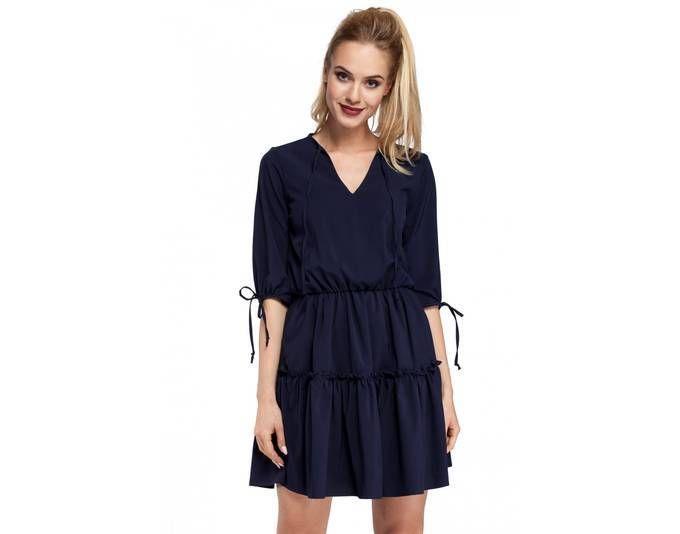 Clea Ungewöhnlich modisches Boho Kleid mit zwei faltigen Rüschen ...