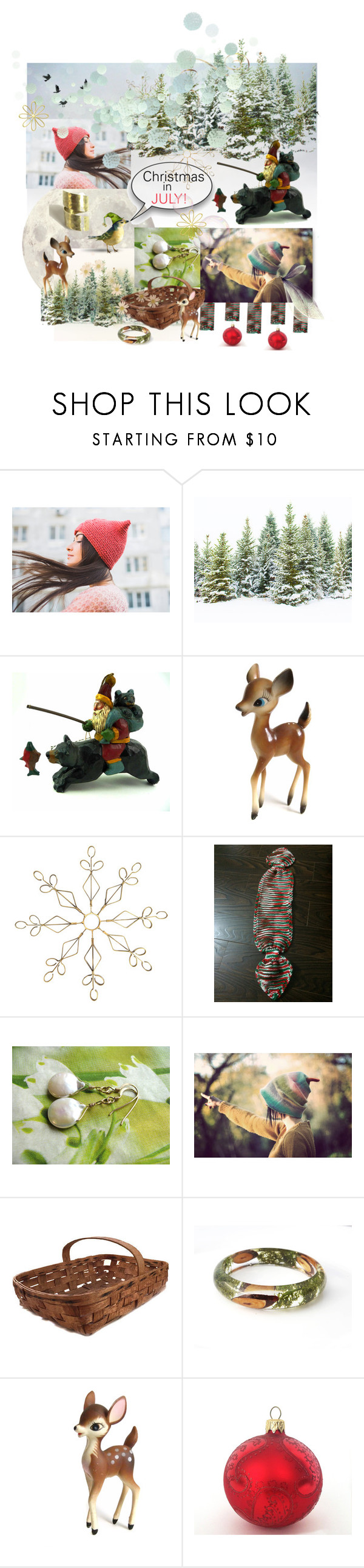 """""""Christmas in July"""" by seasidecollectibles ❤ liked on Polyvore featuring Clips, Park B. Smith, H&M, Hostess and vintage"""