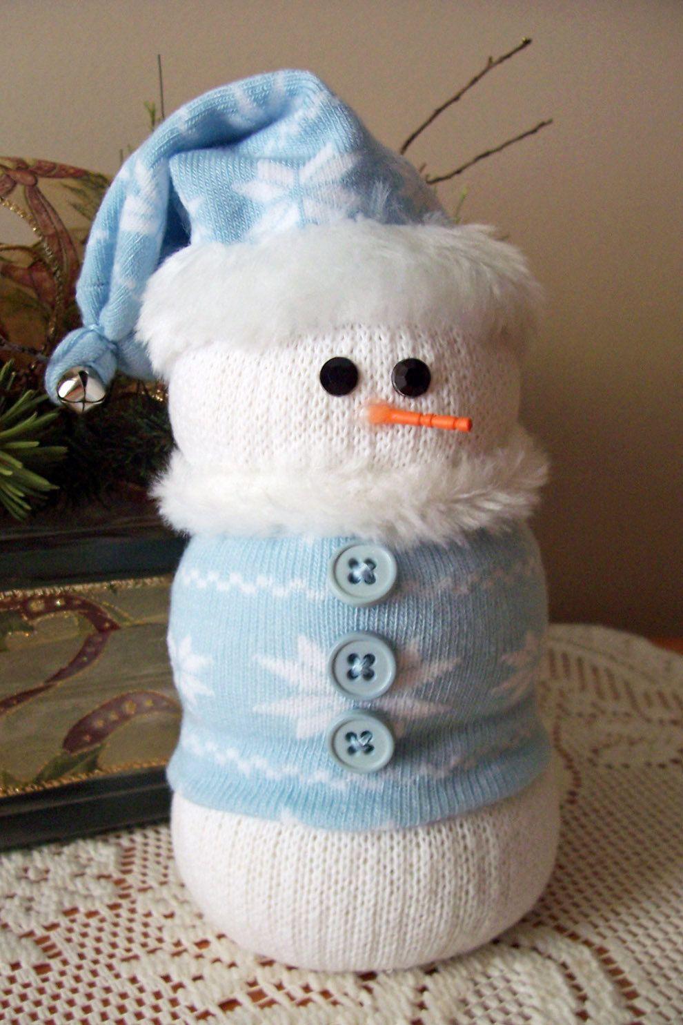 Sock snowman blue snowflake my projects pinterest bonhomme de neige noel et bricolage noel - Pinterest bonhomme de neige ...