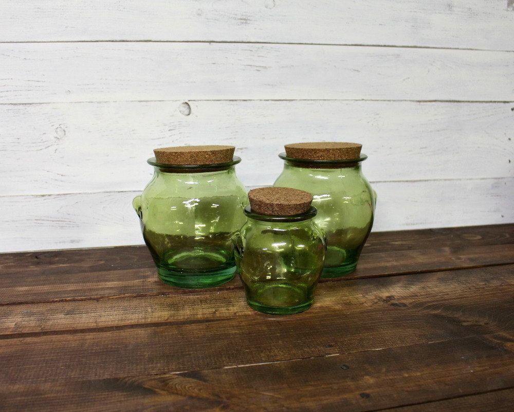 Vintage Canister Set, Green Glass, Vintage Green Glass, Vintage Recycled  Glass, Green