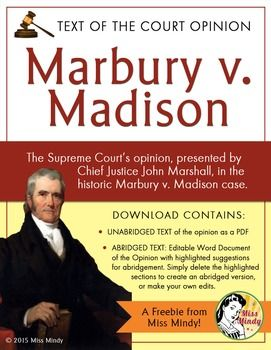 Primary Source Freebie Preparation For Studying Marbury V Madison Just Got Easier With This Free And Eas Teaching Us History Government Lessons John Marshall