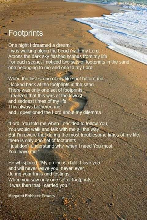 Pin By Kerri Callies On Keepthefaith Footprints In The Sand Poem Footsteps In The Sand Footprint