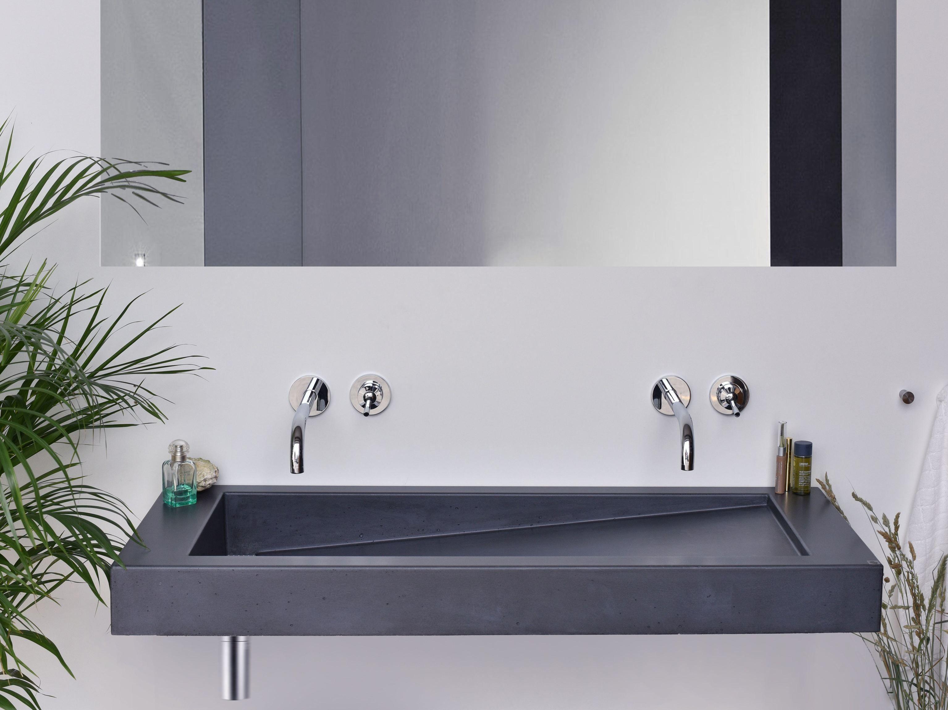 Double Wall Mounted Concrete Washbasin SLANT 03 DOUBLE By Gravelli Design  Tomáš Vacek