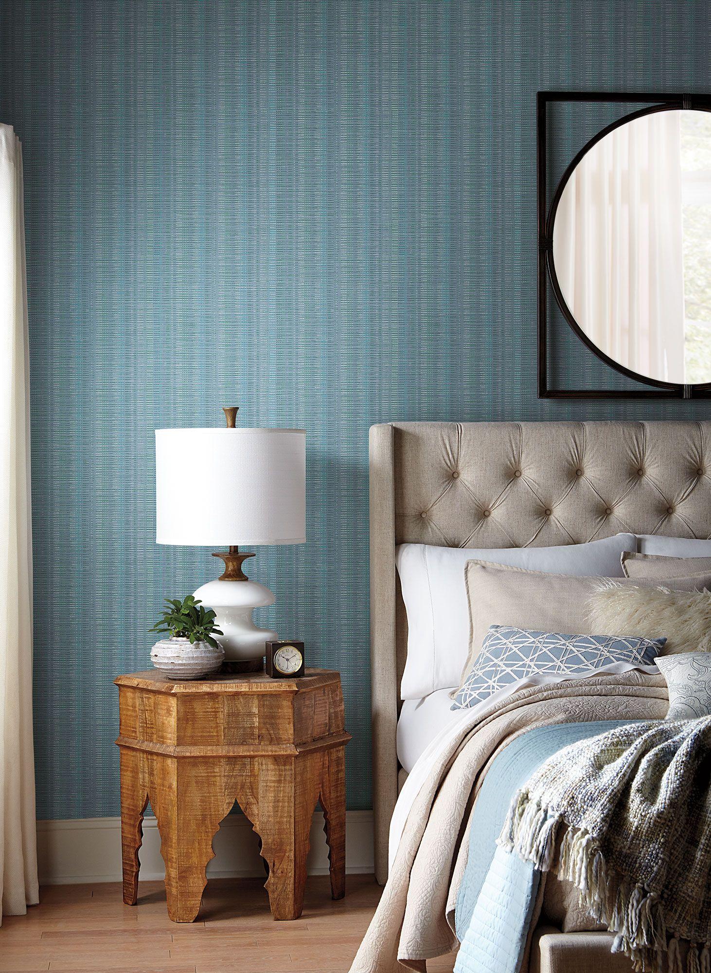 Broken Boucle Stripe Wallpaper Blue Striped wallpaper