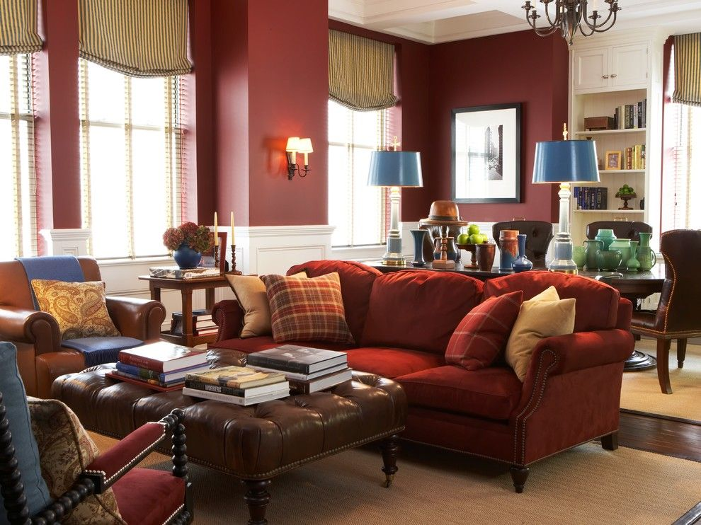 Red Silk Sofa Living Room Traditional Interior Designs With