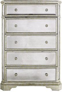Borghese Mirrored 5 Drawer Chest Modern Dressers Chests And