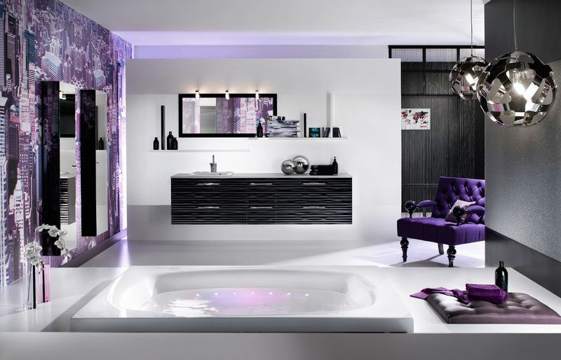Interior Design Purple White Bathroom And Black Modern Haingin Lamp An Dpurple Painting Wall Super Stylish Bathrooms From Delpha