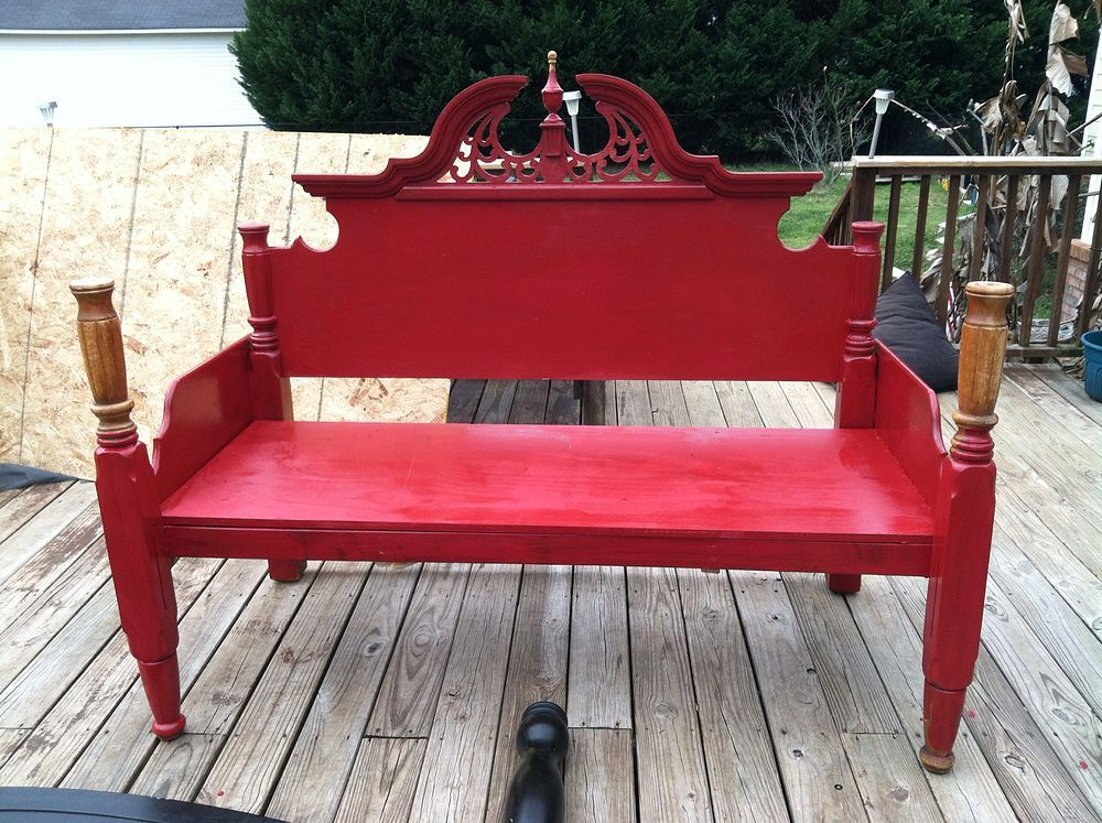 An Outdoor Bench Made From an Old Queen Bed Frame! Diy