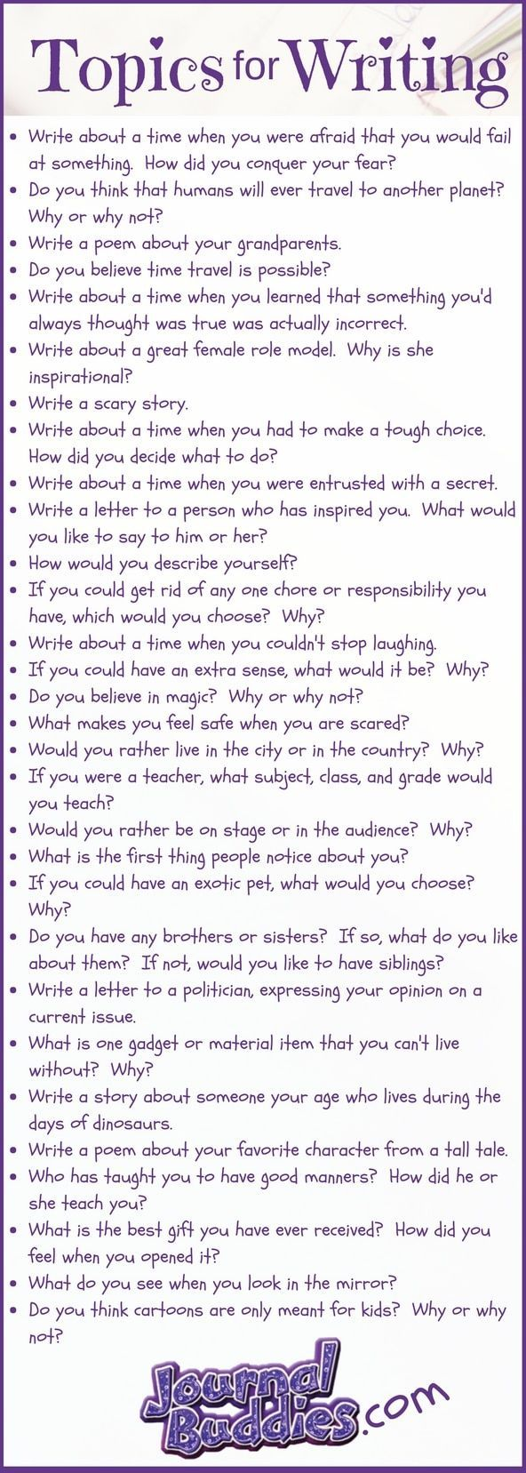 30 Topics for Writing