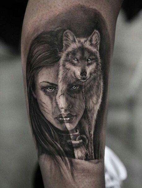 f30e4748e Make the girl look like Alexandra Daddario. Make the girl look like  Alexandra Daddario Native American Tattoos, Beautiful Tattoos, Wolf Tattoo