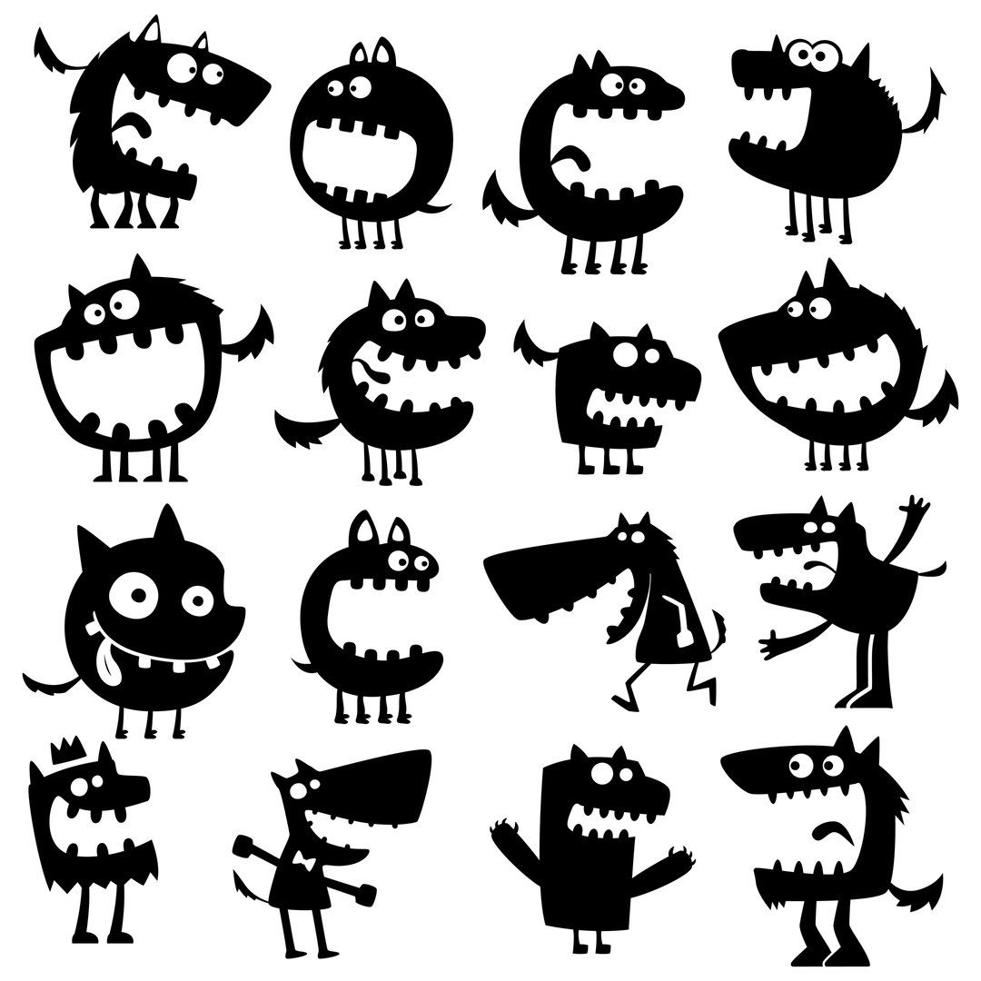 Dxf Band Lazernaya Rezka Vypilivanie Chertezhi Animal Silhouette Art Cartoon Monsters