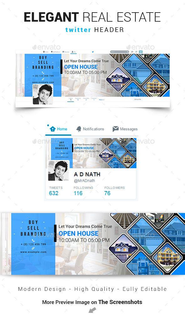 Elegant Real Estate Twitter Header Twitter Header Design