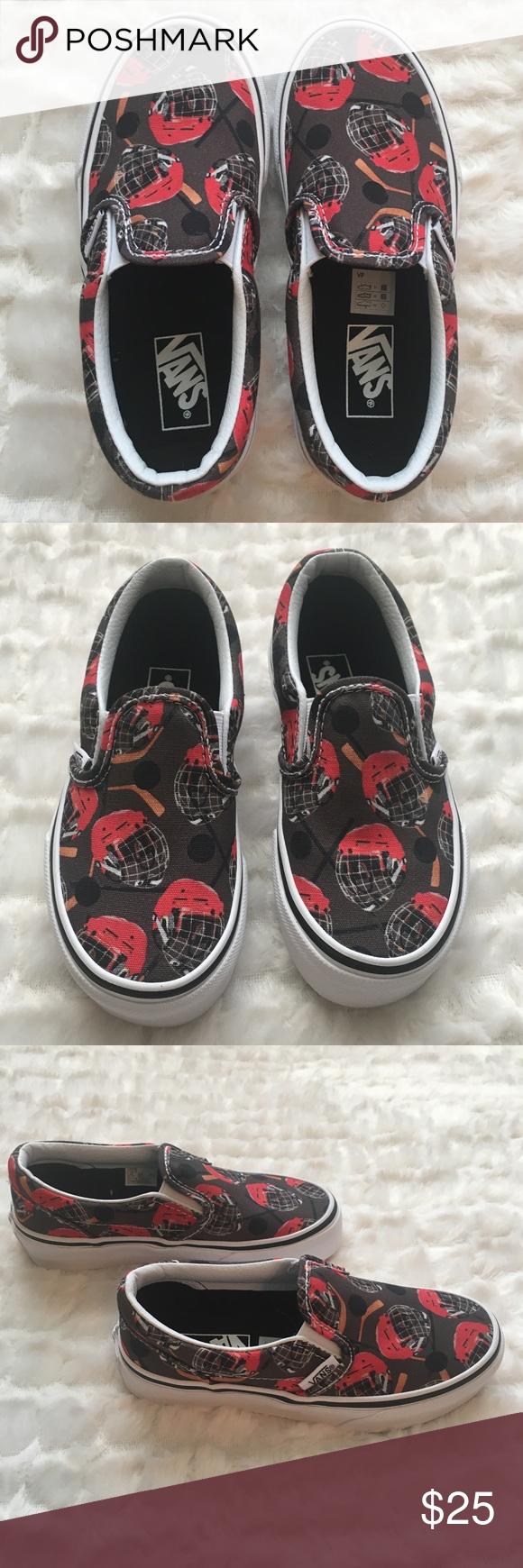 Boys Toddler Size 12 Hockey Vans Slip On Shoes Vans Classic Slip On Sneaker Grey Shoes