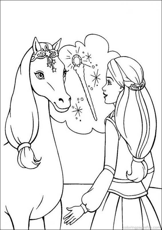 Barbie Coloring Pages 91 (With images)   Horse coloring ...