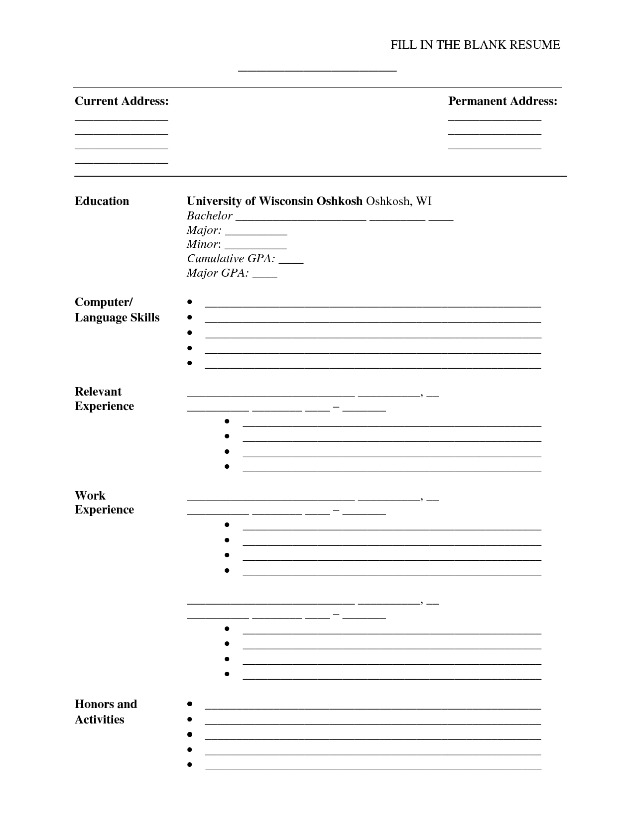 Blank Resume Template Fill In The Blank Resume Pdf  Httpwwwresumecareerfill