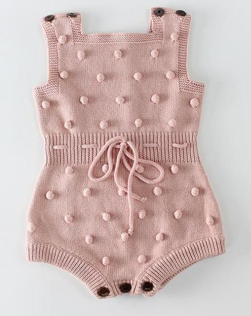 Photo of Knitted Baby Clothes Newborn Baby Rompers Handmade Pompom Baby Girl Romper 100% Cotton Infant…