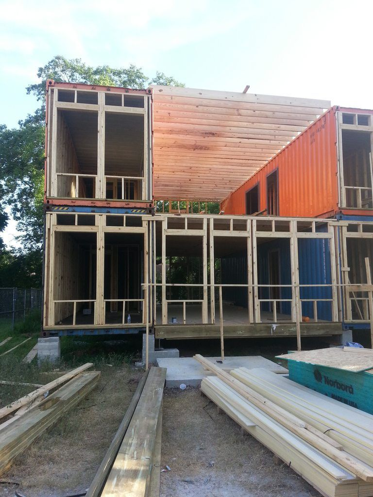 Front before facade i built a shipping container home tiny house