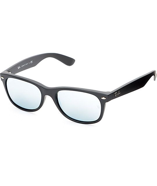 3bdc986856 Ray-Ban New Wayfarer Black Rubber Silver Mirror Sunglasses at Zumiez   PDP