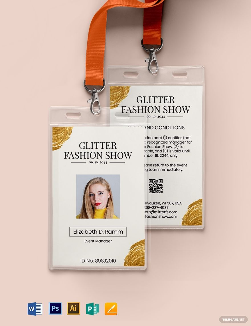 Sample Event Id Card Template Word Psd Indesign Apple Pages Publisher Illustrator In 2020 Id Card Template Event Id Card Template