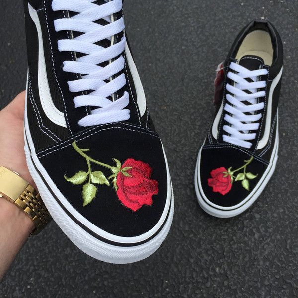 Custom Vans Old Skool G Rose 140 Liked On Polyvore Featuring Shoes Dark Olive Slip Ons Sneakers Athletic Rosette Shoes Embroidered Shoes Custom Shoes
