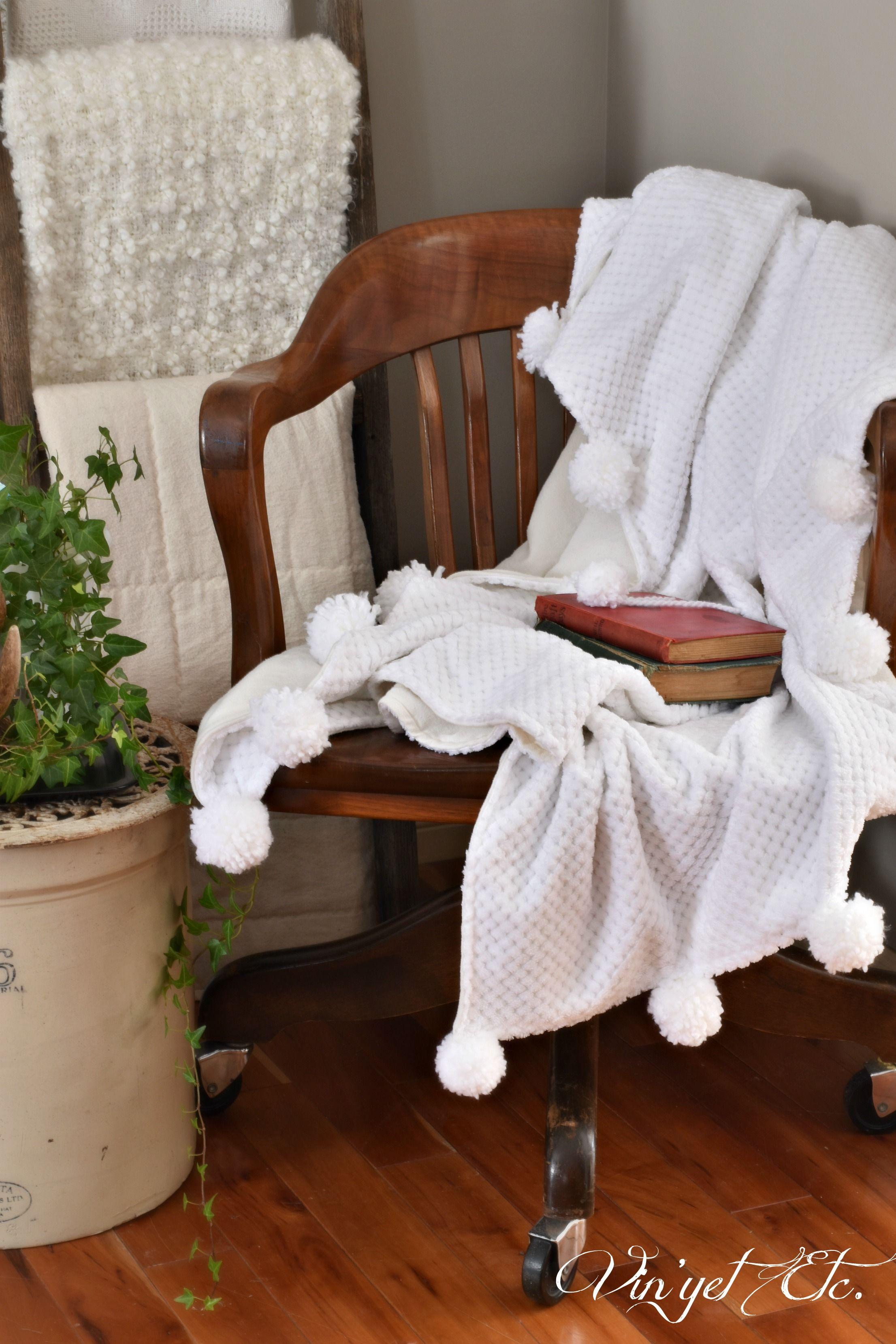 Diy chenille blanket with pom poms chenille blanket blanket and