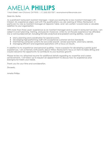Big Contemporary Assistant ManagerCover Letter Example Business - assistant manager restaurant resume