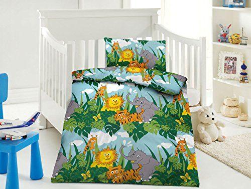 Aminata Kids Bettwasche 100x135 Cm Zoo Safari Dschungel L Bunte
