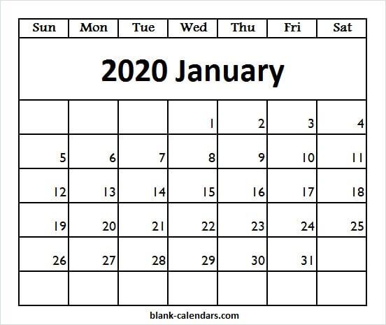 January Calendar, Editable