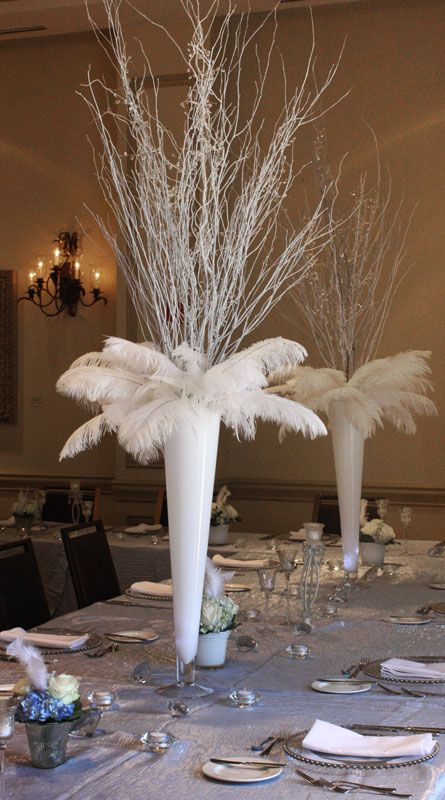 White Birch Branches For Centerpieces With Crystals Hanging Google Search Feather Centerpiece Wedding Masquerade Centerpieces Feather Centerpieces