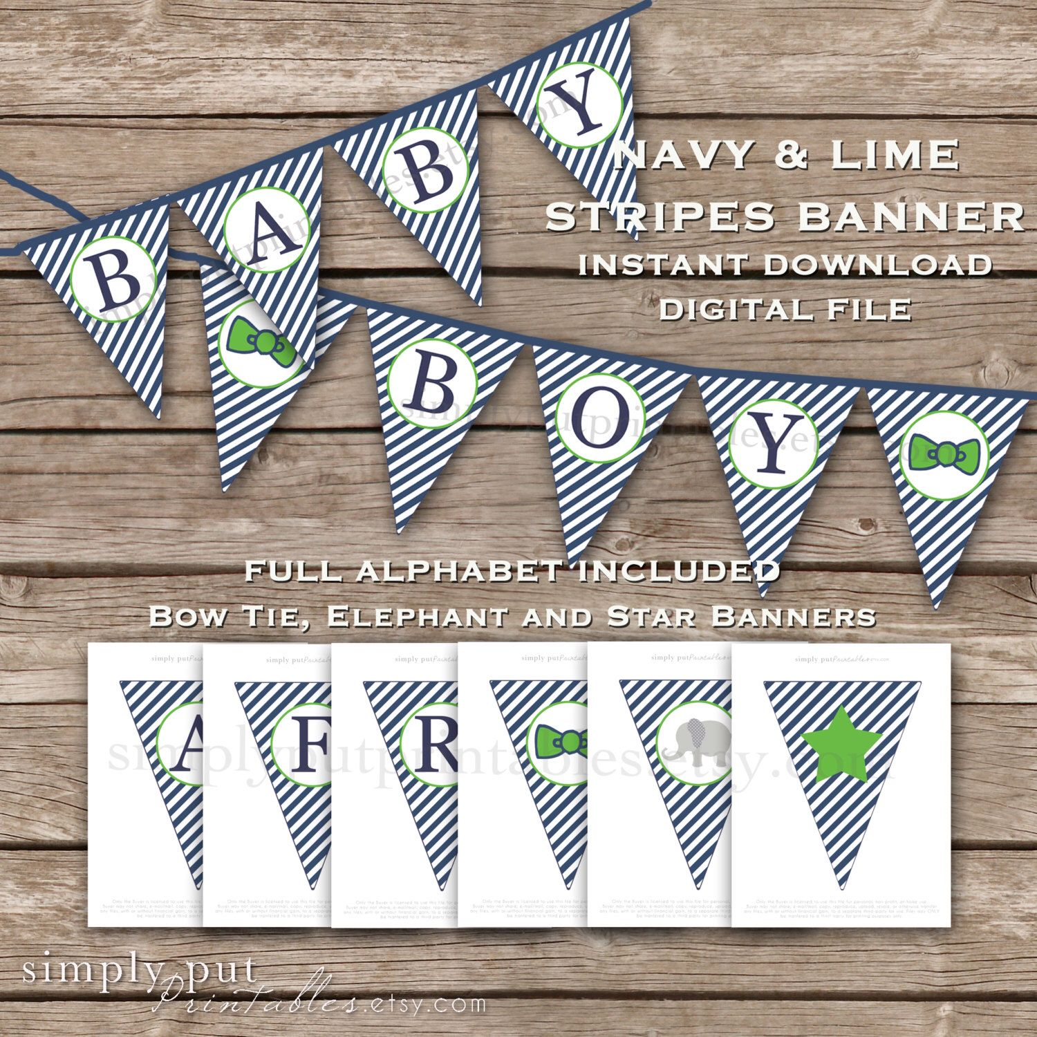 A personal favorite from my Etsy shop https://www.etsy.com/listing/228397783/navy-and-green-stripe-pennant-banner