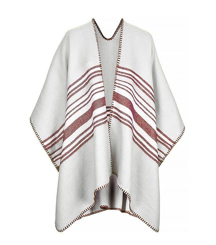 Topshop Centre Striped Cape // blanket poncho coat
