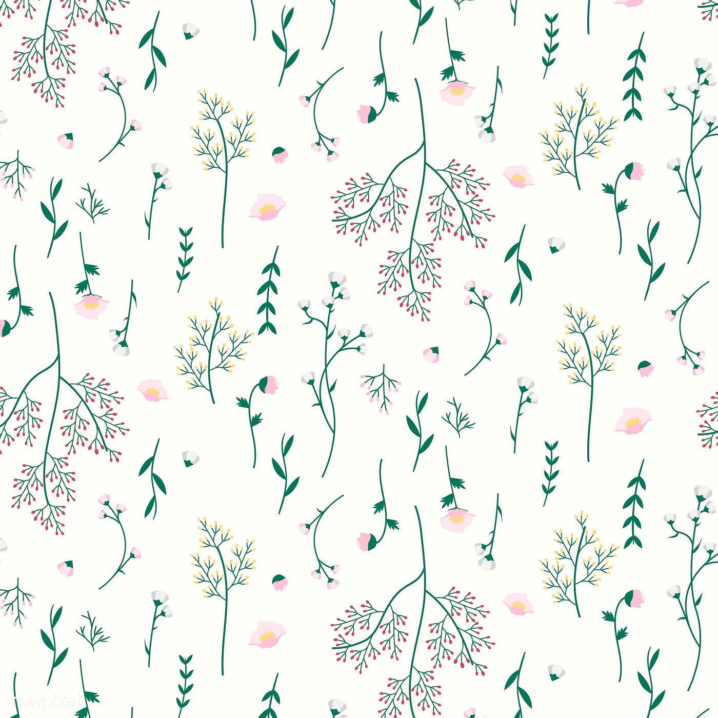 Wild Flower Seamless Pattern Vector Free Image By Rawpixel Com