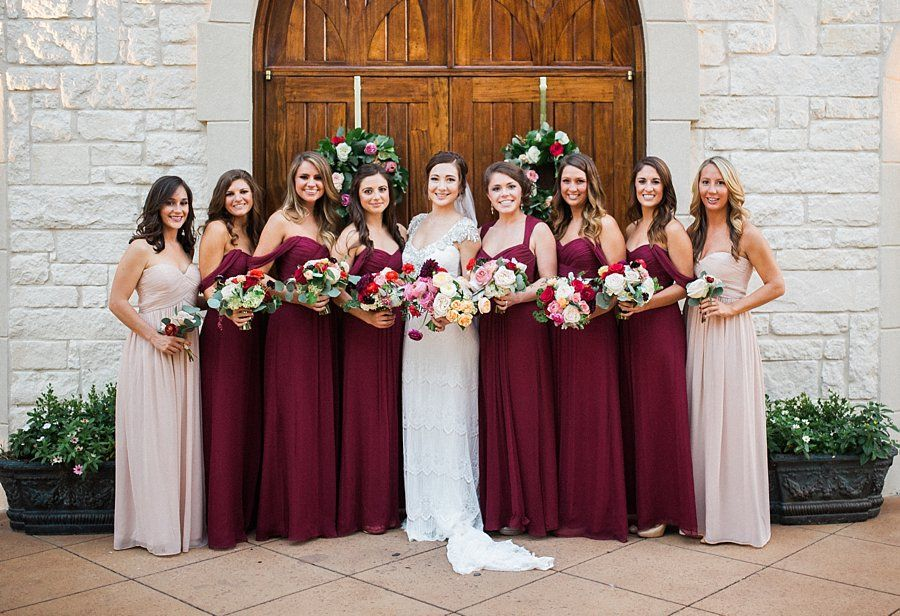 Bridesmaids in shades of burgundy http www for Spring wedding bridesmaid dress colors