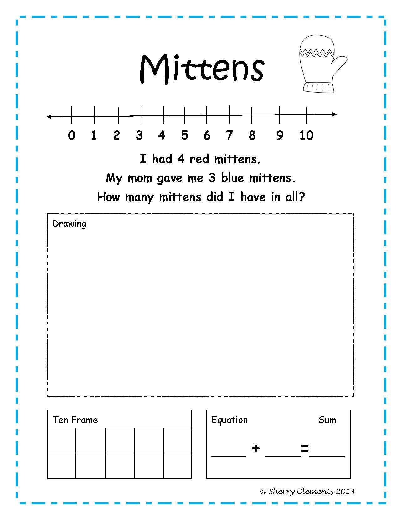 hight resolution of Addition Word Problems (January) (winter) - kindergarten and first grade -  number line